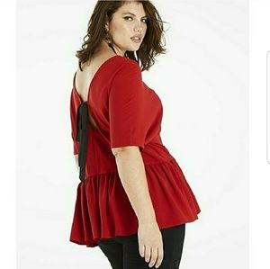 NWT Simply Be Bow back peplum top sz.20